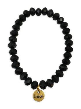 Black Facet Stretch Bead Bracelet