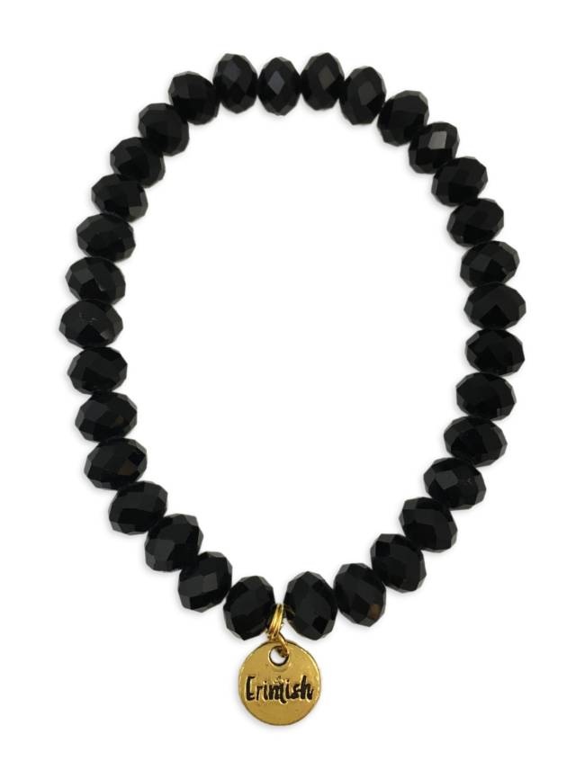 Black Facet Stretch Bead Bracelet