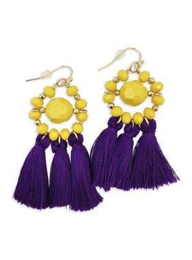 Beaded Tassel Purple & Gold Earrings