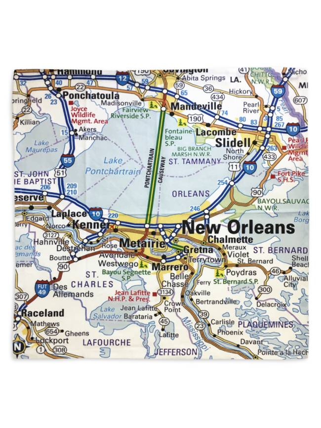 New Orleans Map Napkins, Set of 4 - Fleurty Girl