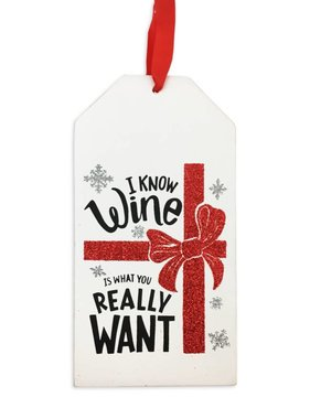 Wine Is What You Really Want Bottle Tag