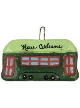 Green NOLA Streetcar Salt Dough Ornament
