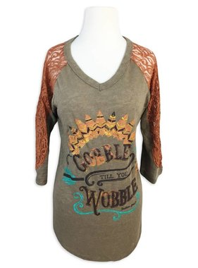 Gobble Till You Wobble Lace Sleeve Tee