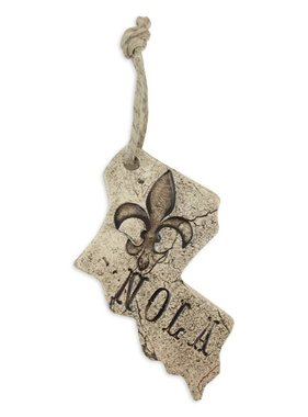 Pressed Ceramic Louisiana With Fleur de Lis