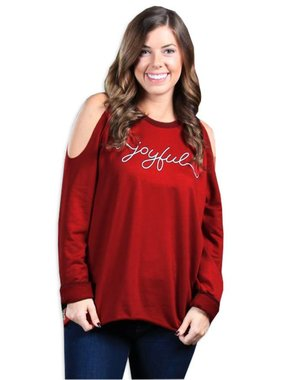 Joyful Cold Shoulder Sweatshirt in Red