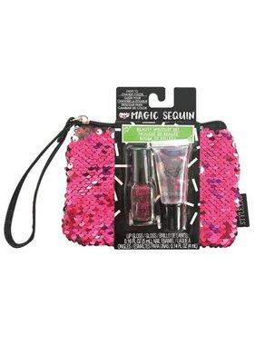 Magic Sequin Beauty Wristlet, Hot Pink