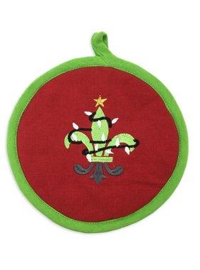 Christmas Fleur de Lis Pot Holder