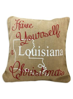 Louisiana Christmas Burlap Pillow