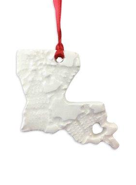 Handmade Ceramic Louisiana Ornament