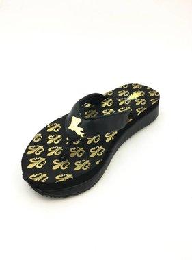 Louisiana Fleur de Lis Sandal, Black/Gold