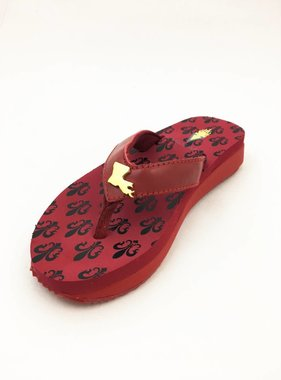 Louisiana Fleur de Lis Sandal, Red/Gold