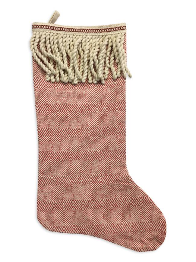 cotton fringe christmas stocking - Girl Christmas Stocking