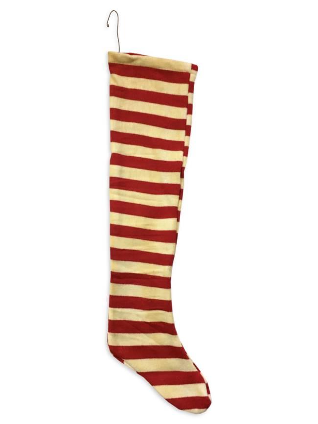 Red & White Stripe Knit Stocking