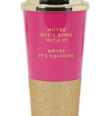 Maybe She's Born With It Glitter Travel Tumbler