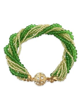 Green & Gold Twist Strand Bracelet