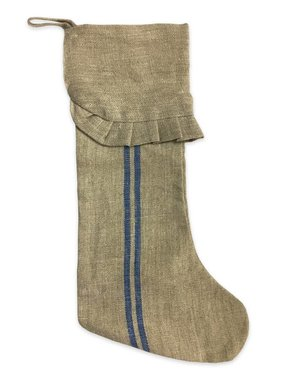 Linen Christmas Stocking With Stripe