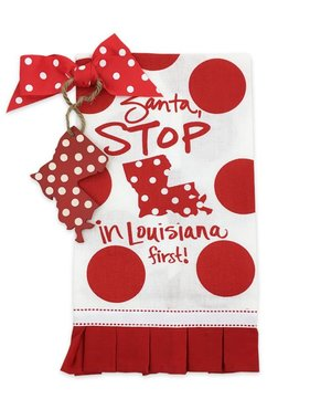Santa Stop Tea Towel with Louisiana Ornament