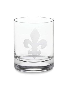 Fleur de Lis Old Fashioned Glass