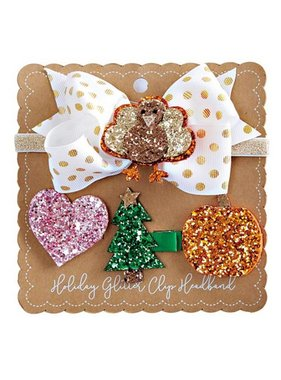Kids Holiday Glitter Clip Headband Set