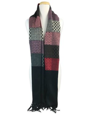 Black Long Colorful Fringe Scarf
