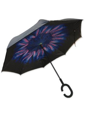 Topsy Turvy Inverted Umbrella, Blue Daisy