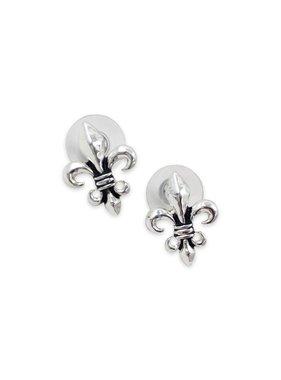 Classic Fleur de Lis Earrings, Silver
