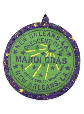 Water Meter Pot Holder, Mardi Gras