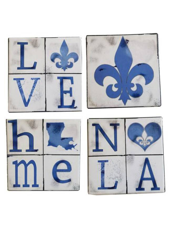 Blue NOLA Love Coaster Set