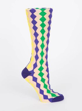 Mardi Gras Diamonds Sheer Socks