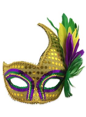 Gold Sequin Mardi Gras Mask With Feathers