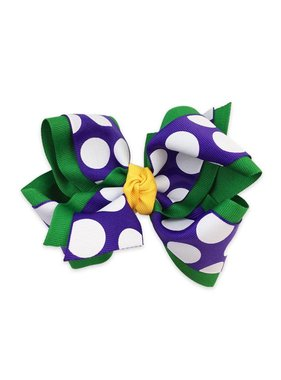 Mardi Gras Purple Polka Dot Hair Bow