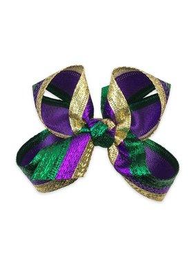 Mardi Gras Metallic Hair Bow, Small
