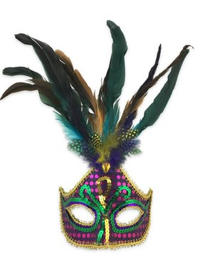 Purple Sequin Mardi Gras Mask with Feathers