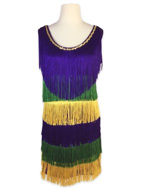 Mardi Gras Fringe Party Dress