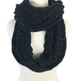 Cable Knit Infinity Scarf in Navy