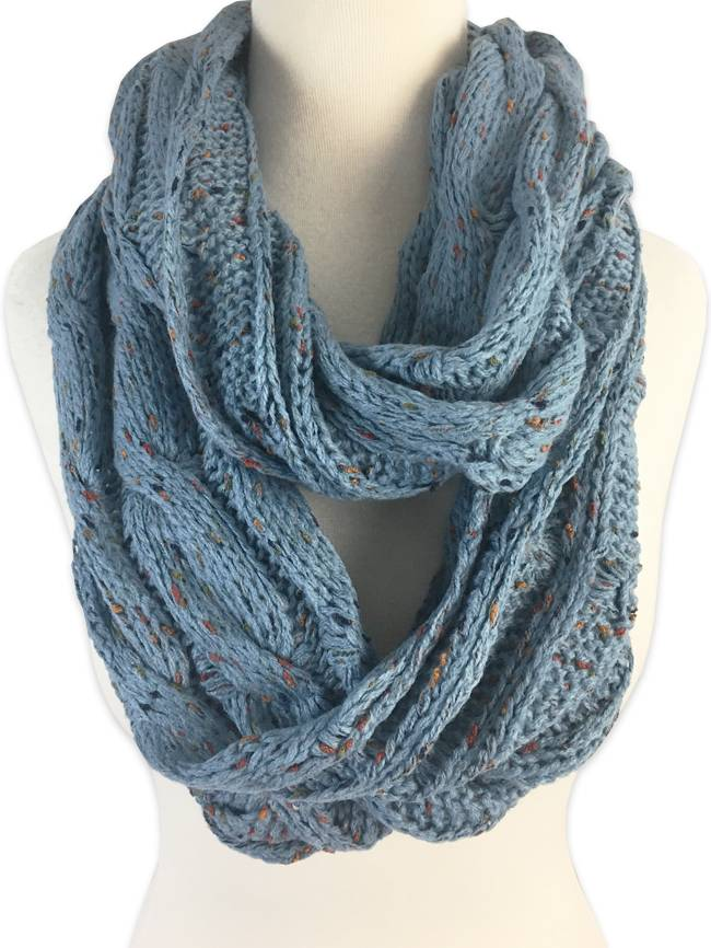 Cable Knit Infinity Scarf in Denim
