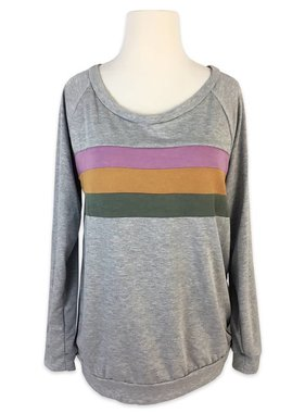 Mardi Gras Color Block Sweatshirt, Grey