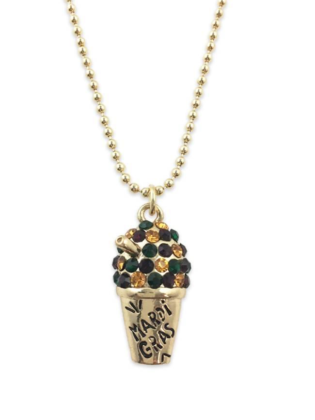 Mardi Gras Snoball Necklace, Gold