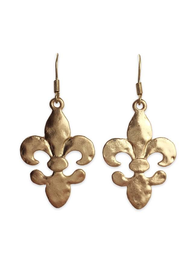 Hammered Fleur de Lis Earrings, Gold