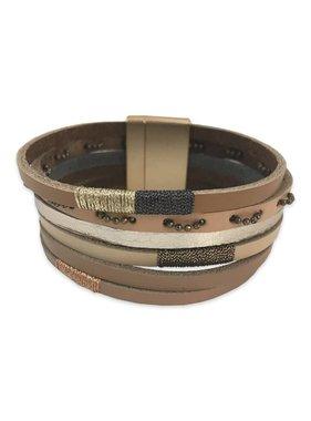 Tan Five Strand Cuff Bracelet