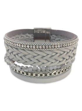 Grey Woven Cuff Bracelet