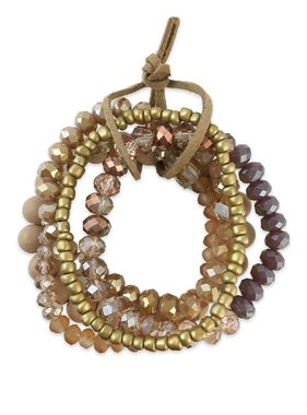 Stone & Crystal Bracelet Set, Cream