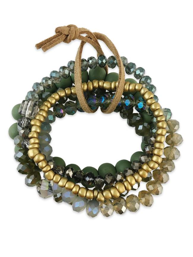 Stone & Crystal Bracelet Set, Green