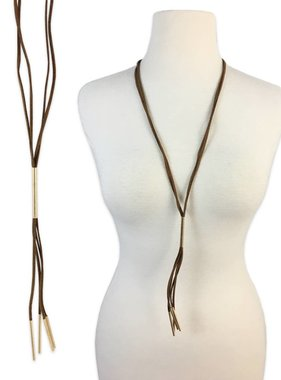 Brown Leather Tassel Necklace