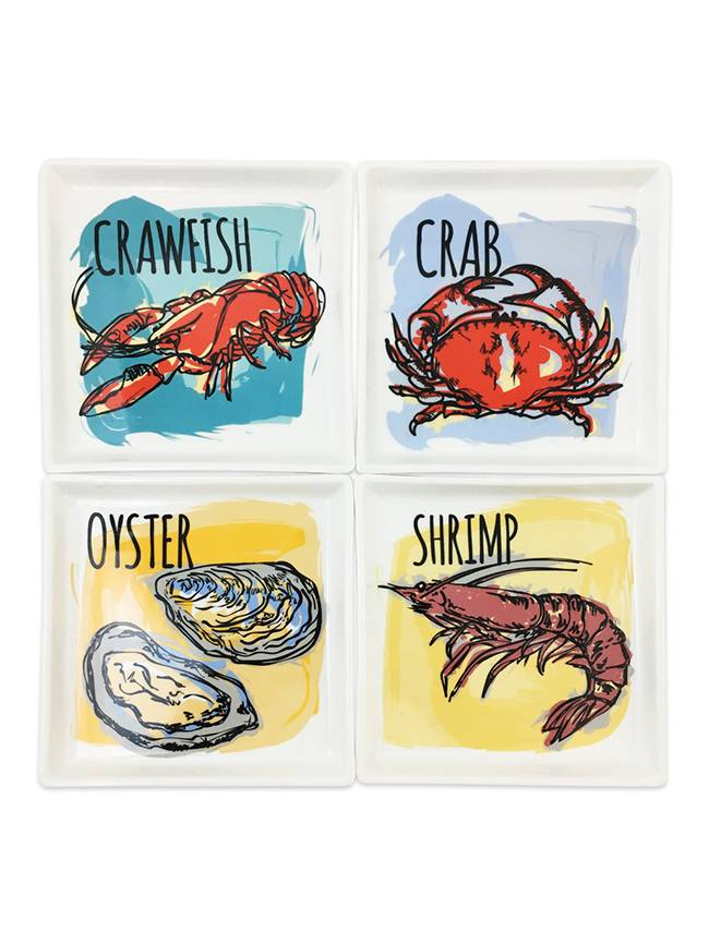 Seafood Appetizer Plates, Set of 4