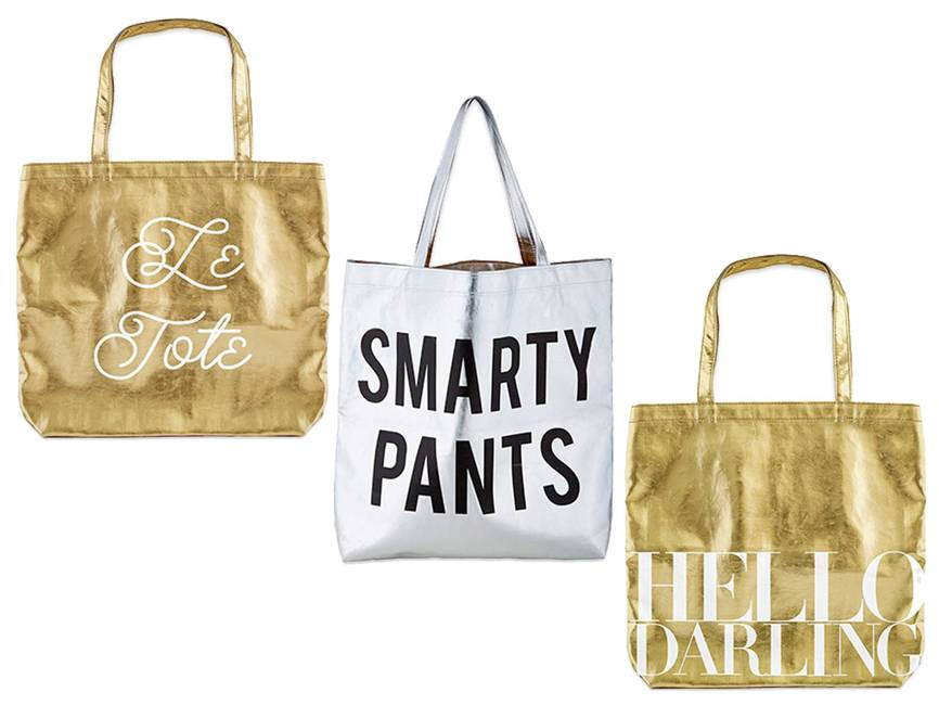 New! Metallic fashion tote bags!