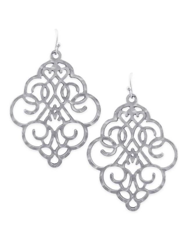 Bold Filigree Earrings In Silver