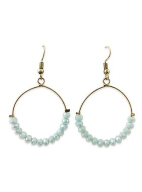 Crystal Hoop Earring, Light Blue