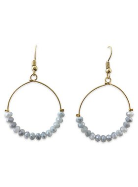 Crystal Hoop Earrings, Grey
