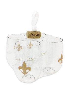 Fleur de Lis Shatterproof Wine Goblet Set